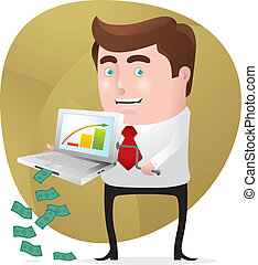 Make More Money Online - Businessman using his laptop to...
