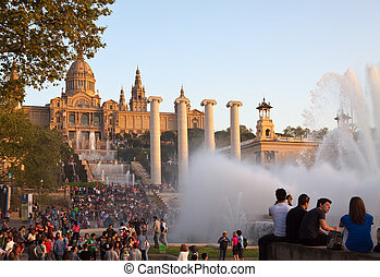 Magic fountain at Barcelona - BARCELONA, SPAIN - APRIL 9:...