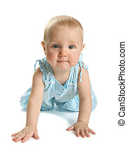child - The kid in a blue sundress on a white background