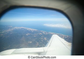 View from plane window to Spain seaside
