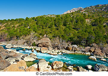 Pyrenees Mountains - The Rapid Flow of the River Aragon in...