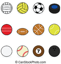 Sports balls - Set with cartoon balls for different sports:...