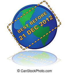 Earth expiry date - Concept illustration showing Earth with...