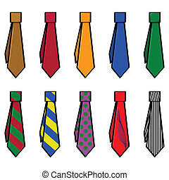 Ties - Cartoon illustration of set with different colors and...