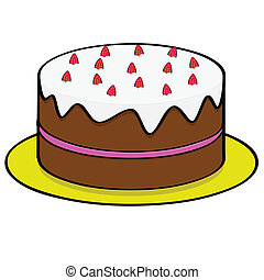 Strawberry chocolate cake - Cartoon illustration of a...