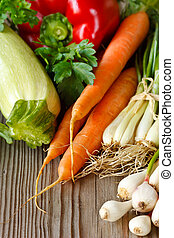 Fresh garden vegetables - Fresh garden vegetables on an old...