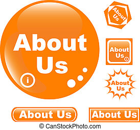 button about us colored glossy icon - set of colored about...