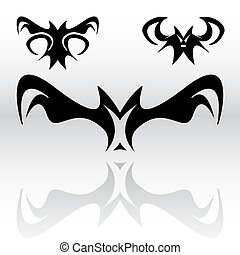 Vampire Bats Clipart - Three different original vampire bat...