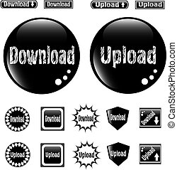Black web glossy buttons download and upload sign