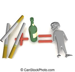 alcohol and cigarettes - three-dimensional person, a green...