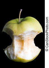 apple core - a apple core in front of black background
