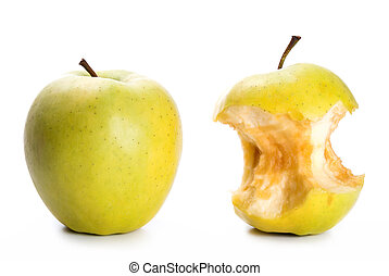 apple and an apple core - an apple and an apple core in...