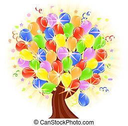 vector illustration of a balloons tree