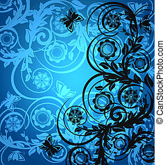 floral ornament with butterfly - vector illustration of a...