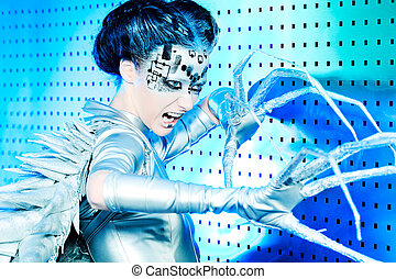 rage - Shot of a futuristic young woman.