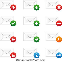 Email icon set - Set of email icons on white background