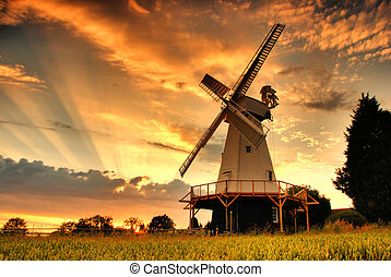 Smock Mill - Kentish Smock Mill at sunset