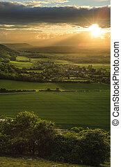 encantador, paisagem, campo, colinas, Vales, armando, sol,...