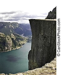 Preikestolen fjord - Preikestolen pulpit-rock view in Norway...