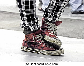 Punk young fashion - Old custom red ruined footwear punk...