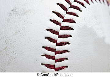 Close up macro of used baseball stitching - Detail image of...