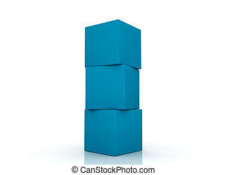 Three blue boxes