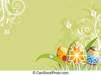 Easter background - Easter Background with floral and eggs,...