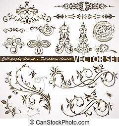Calligraphic and floral element - Collect Calligraphic and...