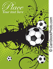 Soccer Ball theme - Soccer ball on grunge background,...