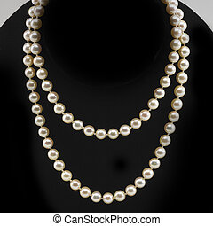 Double strand of fine pearls on black neck form