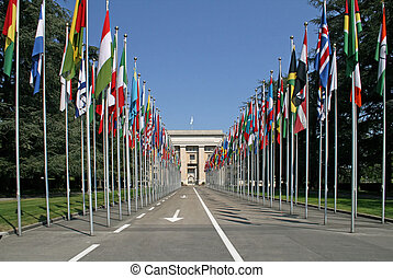 NATIONAL FLAGS GALLERY - Alley national flags in Geneva, the...