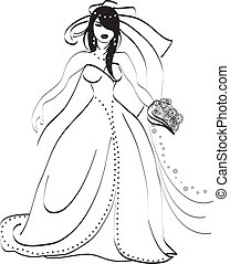 Bride in white and black with bouquet of flowers vector...