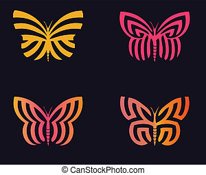 Butterflies - Stylized butterflies in beauty colorful with...