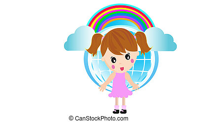 Little Girl and rainbow