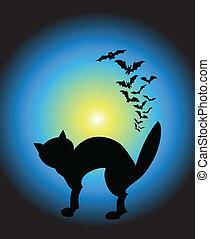 Halloween Cat - Halloween cat in full moon with bats vector...