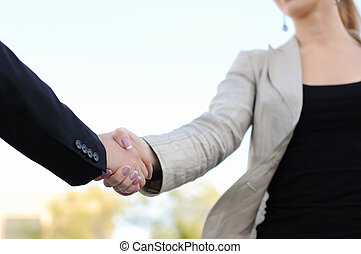 shaking hands on a light background - Business men and women...