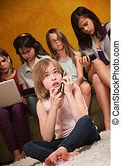 Thinker Girl On Phone