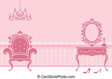 Antique pink interior - Illustration vector