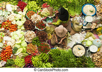 Vegetable market - Asian vegetable market in Kota Bharu...