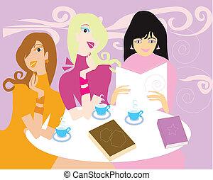 damski, spotkanie, książka, zaopatrywać