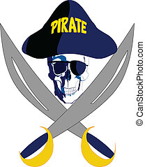Pirate with glasses hat and swords