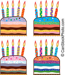 set of colorful birthday cakes