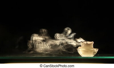 HD: Candle smoke in slow motion - HD: Candle smoke Black...