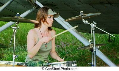 Drummer performs