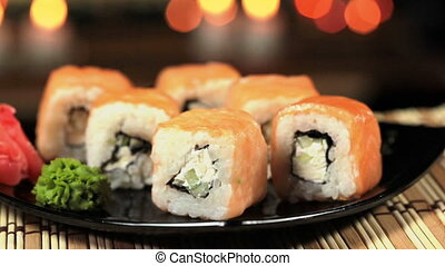 Delicious sushi on a plate - close-up of delicious suchi, 2...