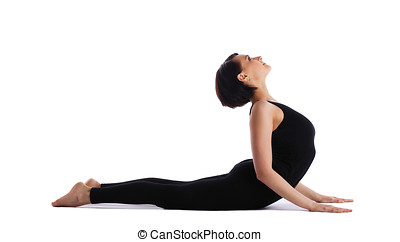 woman back bends yoga - cobra pose isolated - young woman...