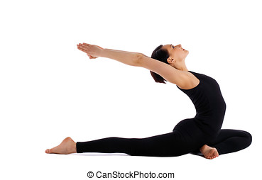 woman lay on yoga pose - pigeon asana isolated - young woman...