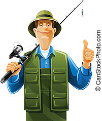 fisherman with rod spinning vector illustration isolated on...