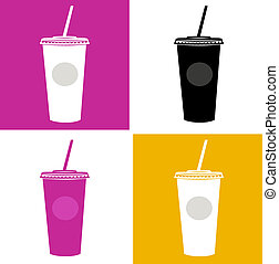 Plastic cup / glass icons - pink, black, yellow, white -...