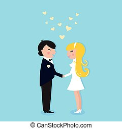 Romance wedding ceremony: Bride and Groom - Cute Bride and...